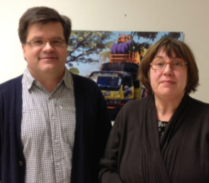 Gabriel Grönroos och Ulla Hiitiö - efter planeringspalaver på UMs biståndsavdelning för medborgarorganisationer på Skatudden i Helsingfors.