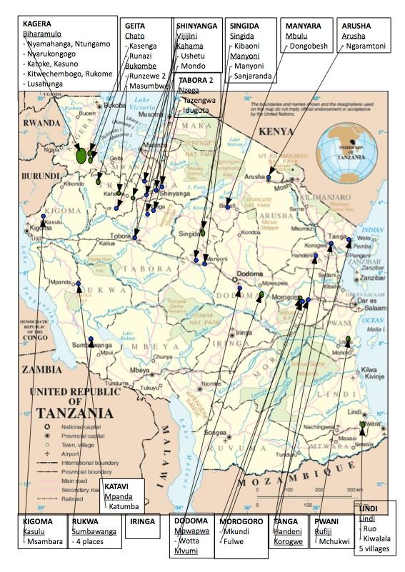 De blå markeringarna på kartan visar var miljöseminarier har hållits och de gröna visar var man har hållit seminarier och/eller startat plantskolor och planterat träd sedan 2010. Klicka för att se kartan i större format.