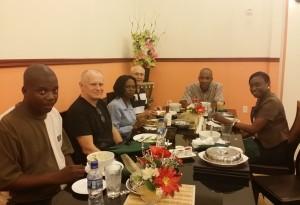 "Bjarne o Ture på middag med ""Social development board"" i Albouystown."