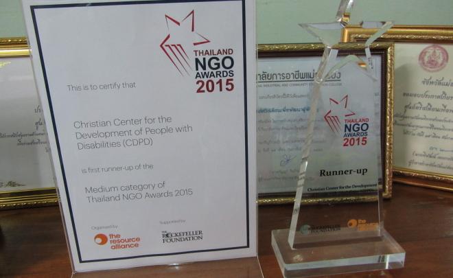 Utmärkelse för projektet Utbildning och rehabilitering för personer med funktionshinder i Thailand 2015